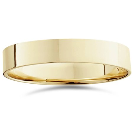 High Polished Flat 6MM Mens Wedding Band Ring 14K Yellow Gold (Flat Wedding Band Mens Ring)