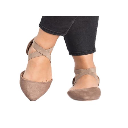 Women Ankle Strap Ballet Flats Criss Cross Shoes Casual Pump Comfy Shoes Fashion