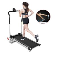 Portable Treadmill Machine - 220 lb Capacity | LED Window Display | Perfect for Fitness Cardio Manual Exercise | Suitable for Home Gym Training Center