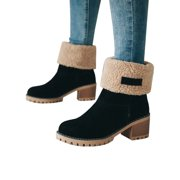 c602e602b00 Womens Snow Booties Warm Winter Faux Fur Suede Shoes Square Heels Ankle  Boots