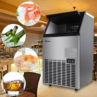 Zimtown Built-In Stainless Steel Commercial Ice Maker, Under counter/Freestanding/Portable Automatic Ice Machine for Restaurant Bar Cafe, 100lbs/24h Production, 33lbs Storage, 5 Accessories,115V