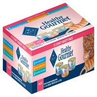 Blue Buffalo Healthy Gourmet Pate Indoor Variety Pack Wet Cat Food, Chicken, Turkey, Ocean Fish & Tuna, 5.5-oz can