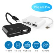 Lightning Card Reader for iPhone & iPad, USB 2.0 Ports, SD TF Card Reader,Trail Game Camera SD Card Reader Female OTG Adapter Cable - Compatible for iOS 9.1 or later