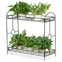 SmileMart 2-Tier Metal Plant Stand Plant display stand Shelf