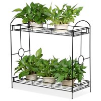 SmileMart 2-Tier Metal Plant Stand Plant display stand Shelf for House/ Patio/Yard/Garden