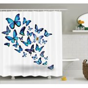 Butterflies Decoration Shower Curtain Set Group Of Flying Natural Botanic Parks Springtime Festive Season