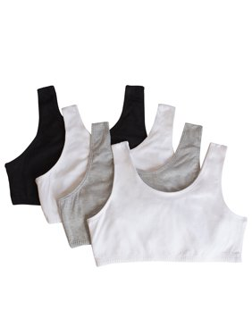Girls Built Up Strap Cotton Sport Bra, 4 Pack