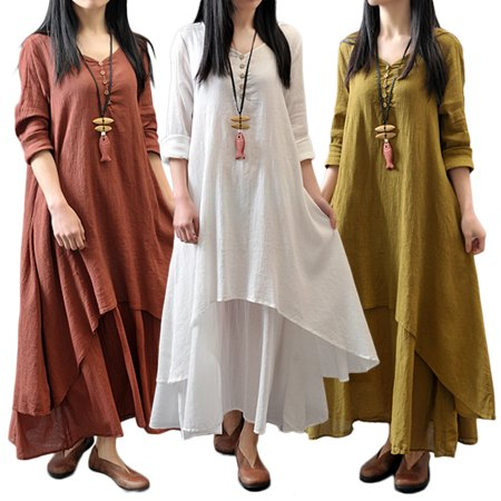 8639a069f96 Viugreum - Women Plus Size Maxi Dress Casual Irregular Boho Dresses Layered Vintage  Loose Long Sleeve Linen Dress