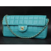 18698750be36 East West Teal Chocolate Bar Quilted Chain Flap 231201 Blue Lambskin Leather  Shoulder Bag