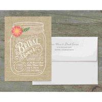 Floral Mason Jar Deluxe Bridal Shower Invitation