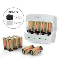 Arlo Certified: Tenergy 3.7V RCR123A Arlo Batteries, Fast Charger, 3 Silicon Skin for Arlo Wireless HD Cameras (VMC3030/VMK3200/VMS3330/3430/3530). Bonus 3 Battery Holder, UL/UN/CE/FCC Listed (12 Pcs)
