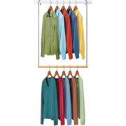 Lynk Double Hang Closet Rod Organizer Clothing Hanging Bar Chrome Wood