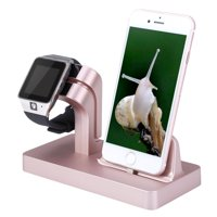 Apple Watch/iWatch/iPhone Charging Stand Cradle Holder Dock Nightstand Station [2 in 1]- iPhone 7 Plus/7/6s/6/5S/5C/5/SE & Apple Watch Series 1 & 2, 38 MM/42MM Watch - Rose Gold