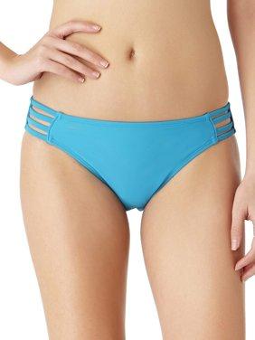 Juniors' Strappy Solid Scoop Bikini Swim Bottom