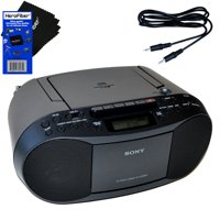 Sony Portable CD Player Boombox with AM/FM Radio & Cassette Tape Player + Auxiliary Cable for Smartphones, MP3 Players & HeroFiber Ultra Gentle Cleaning Cloth