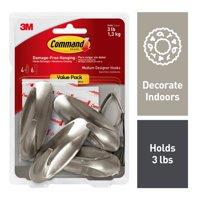 Command Medium Designer Hooks, Brushed Nickel, 4 Hooks, 6 Strips (Holds 3 lb)