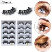 27296454acb Spencer Real Mink Fur False Eyelashes,5 Pairs 3D Reusable Women Natural Fake  Eyelashes Pack