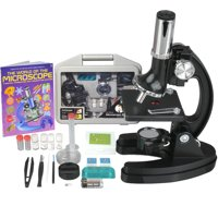 AmScope AMSCOPE-KIDS 120X-240X-300X-480X-600X-1200X Starter Kit Metal Arm Children Biological Microscope Kit + Microscope Book New