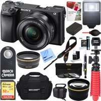 Sony ILCE-6300 a6300 4K Mirrorless Camera w/ 16-50mm Power Zoom Lens + 32GB Accessory Bundle + DSLR Photo Bag + Extra Battery + Wide Angle Lens+2x Telephoto Lens + Flash + Remote + Tripod