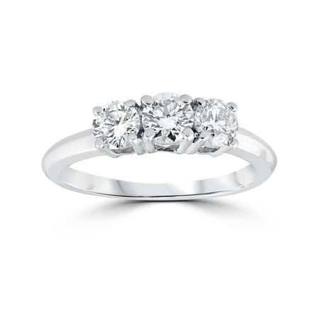 1 Carat 3-Stone Diamond Engagement Ring Solitaire Round Cut 14k White Gold 1/4 Carat Blue Diamond Solitaire
