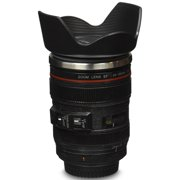 Camera Lens Coffee Mug Stainless Steel Insulated Hot / Cold Beverage Travel Tumbler Thermos - Black