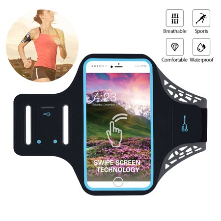 Water Resistant Cell Phone Armband, 6 Inch Case - Adjustable Reflective Workout Band, Key Holder & Screen Touch - for iPhone X, 8, 7, and Samsung Galaxy S9, S8, Note 8, Google Pixel Black Adjustable Sports Armband