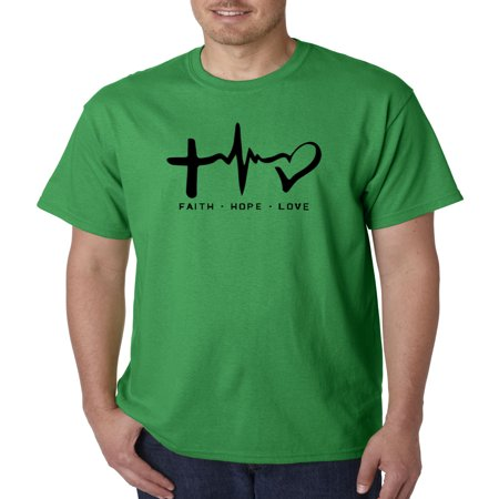 Trendy USA 491 - Unisex T-Shirt Faith Hope Love Inspirational Foundation XL Kelly Green (Inspirational Adult Tshirt)