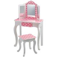 Teamson Kids - Fashion Polka Dot Prints Gisele Vanity Table & Stool Set - Pink / White