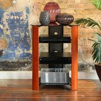 "35"" Modern 4-Shelf Glass Audio Rack Media Component Stand - Cherry (Multiple Colors)"