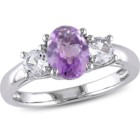 1-4/5 Carat T.G.W. Oval and Round-Cut Amethyst and Created White Sapphire Sterling Silver Three Stone -