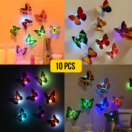 10-pack 3D Butterfly Wall Stickers LED Light Removable Butterfly Wall Decals Colorful Butterflies Art Decor Wall Stickers Murals for Kids Baby Boy Girls Bedroom Classroom Offices TV Background