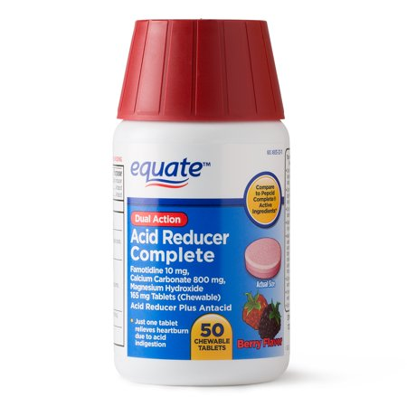 Equate Acid Reducer Complete, Chewable Tablets, Berry, 50