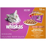 WHISKAS CHOICE CUTS Poultry Selections Variety Pack Wet Cat Food, (12) 3 oz. Pouches