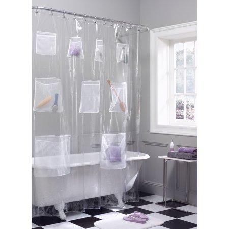 Maytex Mesh Pockets PEVA Clear Storage Shower Curtain, 1 Each