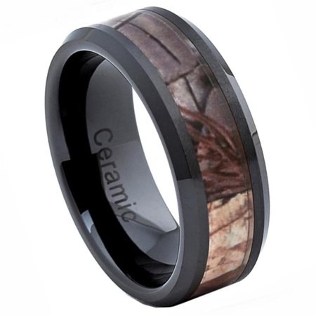 8mm - For Men or Ladies Beveled Edge with Forest Floor Foliage Camo Inlay Ceramic Wedding Band - Camo Wedding Accessories