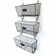 Akoyovwerve 3pcs Wire Letter Mail Mount Metal Rack Basket Vintage Triple Organizer Black