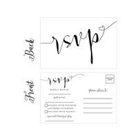 50 Blank RSVP Cards, RSVP Postcards No Envelopes Needed, Response Card, RSVP Reply, RSVP for Wedding, Rehearsal Dinner, Baby Shower, Bridal Shower, Birthday, Engagement, Bachelorette Party Invitations