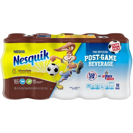 Nestle Nesquik Low-Fat Chocolate Milk, 8 Fl. Oz., 10 (Best Time To Drink Kefir Milk)