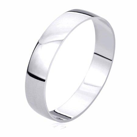 - Men Women 14K White Gold Wedding Band 5mm Domed Classy Plain Ring