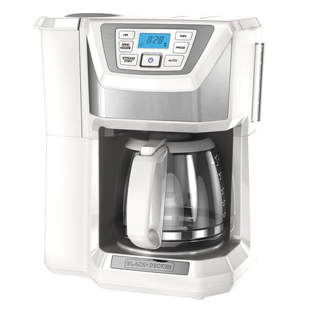 BLACK+DECKER Mill & Brew 12-Cup* Programmable Coffeemaker with Built-In Grinder, White, CM5000WD Delay Brew Coffee Maker