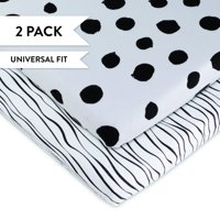Changing Pad Cover Set | Cradle Sheet Set 100% Cotton Jersey Knit 2 Pack Black Abstract Stripes and Dots