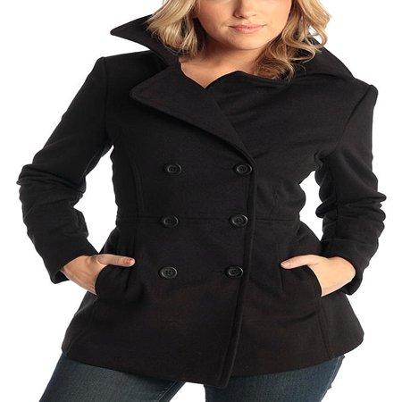 Alpine Swiss Emma Womens Peacoat Double Breasted Overcoat 3/4 Length Wool Blazer Black Medium ()