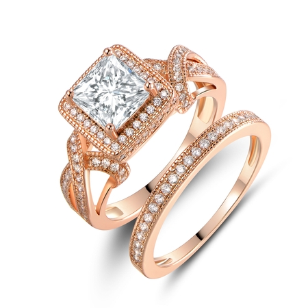 18K Rose Gold Plated & Princess-Cut Cubic Zirconia Engagement Ring Set