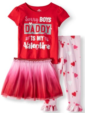 Product Image Valentine's Day Short Sleeve T-Shirt, Leggings & Tutu 3pc Outfit Set (Toddler