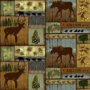 "David Textiles Anti-Pill Fleece Mountain Pines & Lodge Fabric By The Yard 60"""