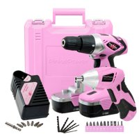 Pink Power PP1848K Electric Screwdriver and 18 Volt Cordless Drill Driver with Charger and Bit Set