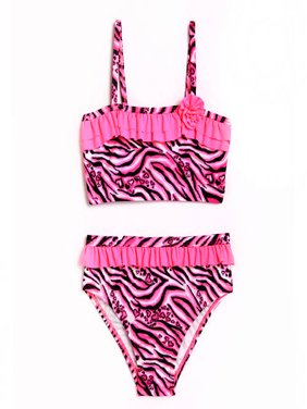 Toddler Girl Animal Frenzy Pink Zebra Bikini Swimsuit