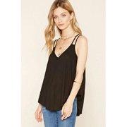Unomatch Women Summer Straps Big Neck Vest Style Blouse Black