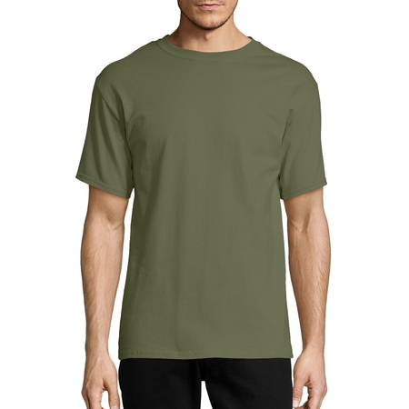 Hanes Men's Tagless Short Sleeve Tee Black Bear Print T-shirt