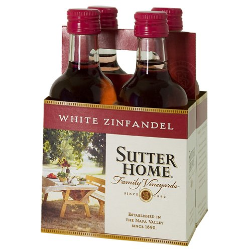 Sutter Home Mini White Zinfandel Wine, 4 pack, 187 mL
